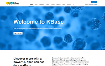 KBase website home page